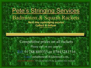 Pete's Stringing Services Badminton Rackets Next day restringing